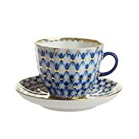 インペリアルポーセリン コバルトネット コーヒーカップ&ソーサー 140ml [並行輸入品]