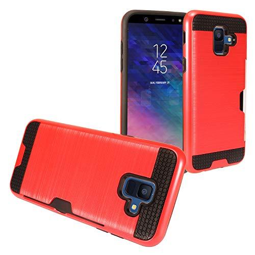 Eaglecell Schutzhülle für Samsung Galaxy A6 (2018) SM-A600, gebürstet, mit Kartenschlitz, Bildschirmschutzfolie aus gehärtetem Glas, CS2 Black/Red