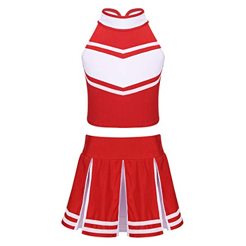 Oyolan Kids Girls Sleeveless Zippered Tops with Pleated Skirt Set Cheerleading Costume Outfit Red&White 8