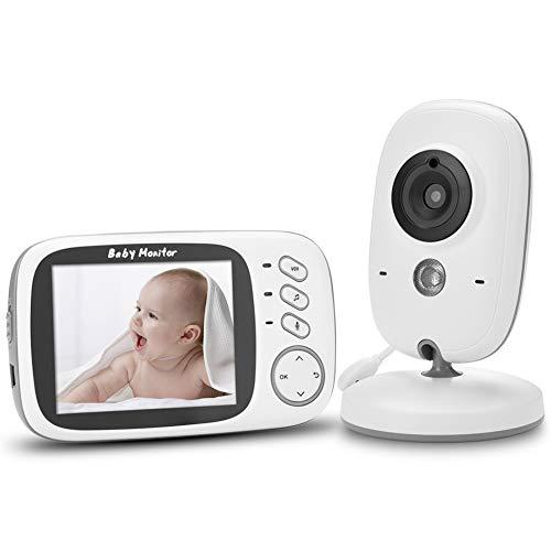 【2020 Upgraded】NVMIAO Babyphone 3.2 Zoll HD Babyphone mit Kamera Video Überwachung Smart Baby Monitor TFT LCD Digital dual Audio Funktion, VOX, Schlafmodus, Nachtsicht, Temperatursensor, Schlaflieder