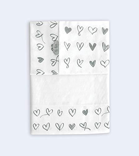Ti-tin Lakens voor babybedje van 60 x 120 cm met HARTEN print, 100% katoen grijze kleur