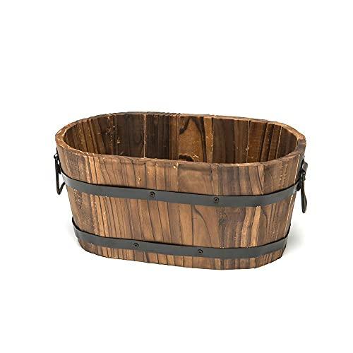 Cedar Wooden Whiskey Barrel Small Pot Planter Outdoor Garden Lawn Plant Flower