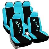 eSituro Auto Schonbezug 11-teillige Sitzbezüge für Auto mit Schmetterling universal schwarz-blau SCSC0060
