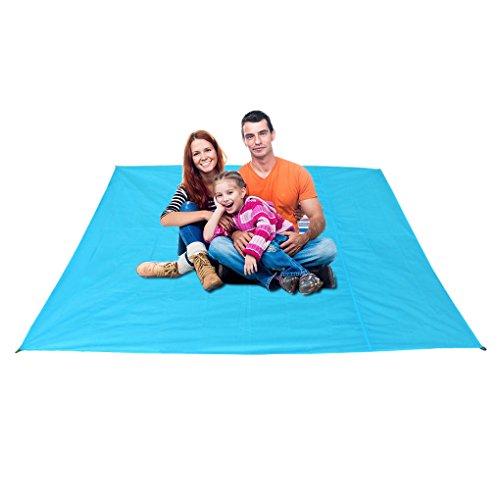 LY Tapis de Sol Etanche Natte Bâche/Protecteur de Tête Multifonction Oxford 600D Résistant à l'Humidité Matelas pour Tente Camping Pique-Nique Randonné Carré 200 ×200 CM - Bleu