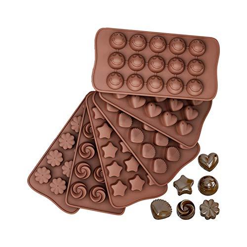 Molde De Silicona, Moldes De Chocolate Moldes De Goma Silicona, Moldes De Silicona Antiadherentes De Grado Alimenticio, Para Chocolate, Caramelo, Gelatina, Cubo De Hielo,6 piece set