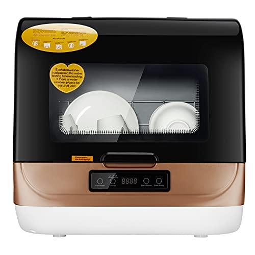 BITOWAT Mini lavavajillas mesa lavavajillas empotrable, lavado y secado en una limpieza a 360° sin obstáculos ciegos, ahorro energético/ahorro de agua (dorado)