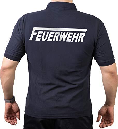 feuer1 Polo-Shirt Feuerwehr mit langem F - Silber reflektierend - beidseitiger Schriftzug