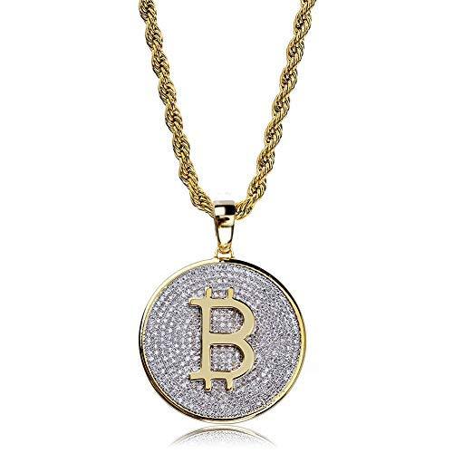 Moca Schmuck Hip Hop Iced Out Bling Persönlichkeit Bitcoin Anhänger 18 Karat Vergoldet Kette Halskette Für Männer Frauen