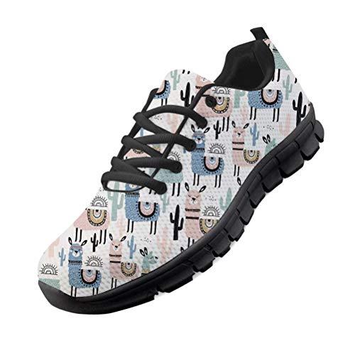 chaqlin Mignon Dames Appartements Chaussures Animal Alpaga Motif À Lacets Casual Femmes Baskets Chaussures Confortable Maille Marche Athlétique Chaussures De Course EU45