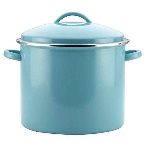 Farberware Enamel on Steel Stock Pot/Stockpot with Lid - 16 Quart, Blue