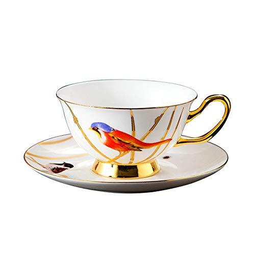 Kaffeetassen Mug,200Ml Keramik Mittelalterliches Ölgemälde Roter Vogel Goldrand Mit Griff Untertasse Wiederverwendbare Tee Milch Espressotasse Geschenk Für Mutter Frauen Ehemann Freund Kinder Gesc