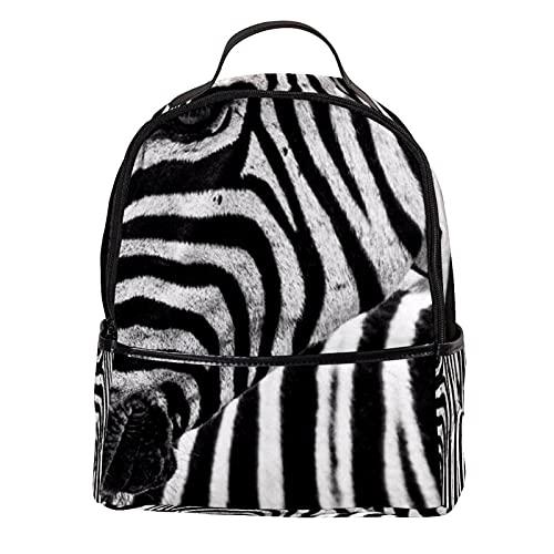 LUPIN - Zaino in pelle PU per scuola, collegio, con zebre bianche e nere