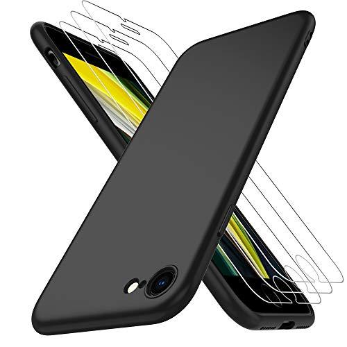 AOYATE Custodia Cover iPhone SE 2020 + Vetro Temperato iPhone SE 2020 (3Pezzi), HD Anti-graffio Vetro Temperato Senza Bolle con Una Nero Custodia Silicone Cover per iPhone SE 2020