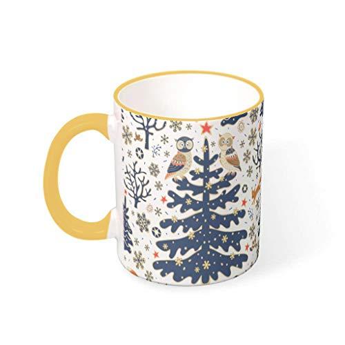 O3XEQ-8 11 OZ Christmas Flower Wasser Kaffee Becher Tassen mit Griff Hochwertige Keramik Neuheit Becher - Mädchen Frauen Gegenwart, Geeignet für Wohnheim verwenden Goldenrod 330ml