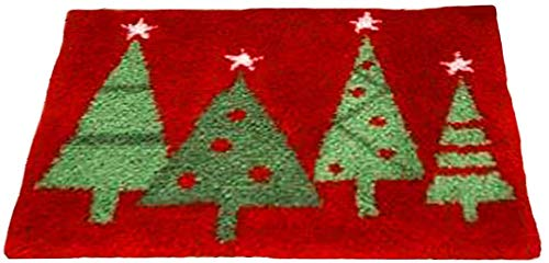 50x36cm Handmade Lovely Pattern Making Carpet Latch Hooking Rug Kits Suit for Home Embroidery Crafts Festival Gift (Xmas Tree Red)