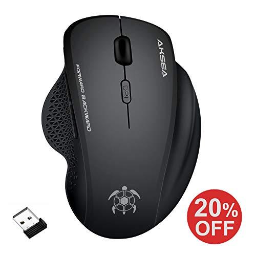AKSEA Kabellose Maus, 2.4G in voller Größe Kabellose Optische Ergonomische Maus Kabellos,6 Tasten Maus mit USB Empfänger für PC/Laptop/Android Tablet (Schwarz)