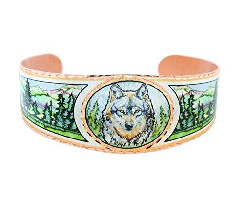 Pulseras de cobre con diseño de lobo, alce, caballo, acuarela, Santa Fe/geométrico/noche estrellada/flores de almendra/irises/girasoles/flores de cerezo, obra de arte de Vincent Van Gogh plateado