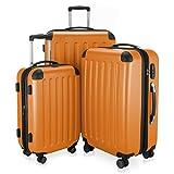 HAUPTSTADTKOFFER - Spree - 3er Koffer-Set + Kofferanhänger - Handgepäck 55 cm, mittelgroßer Koffer 65 cm, großer Reisekoffer 75 cm, TSA, 4 Rollen, Orange