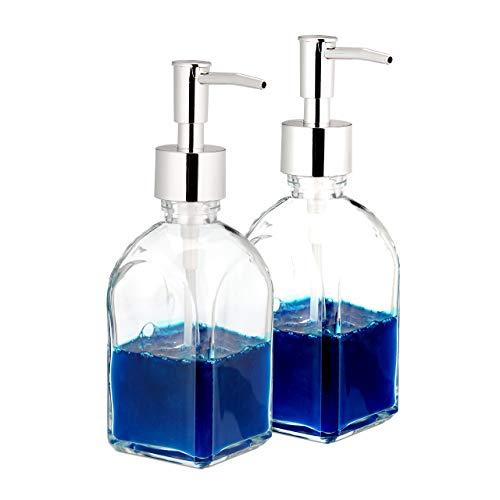 Relaxdays Seifenspender, 2er Set, Pumpkopf, nachfüllbar, Bad, WC, Küche, Flüssigseifenspender, Glas, 220 ml, transparent