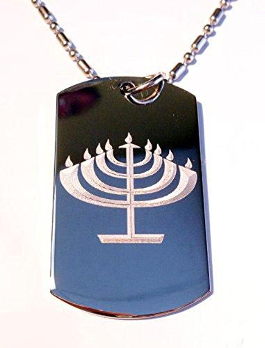 Menora Candle Stand Hanukkah Jew Jewish Judaism Religion Religious Logo - Military Dog Tag Luggage Tag Key Chain Metal Chain Necklace
