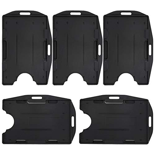 Pawfly 2 Card ID Badge Holder 2 Sided Black Rigid Hard Plastic Credit Card Protector - 5 Pack
