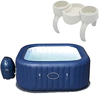 MRT SUPPLY SaluSpa Hawaii 6 Person Portable Inflatable Spa Hot Tub & Drink Holder with Ebook