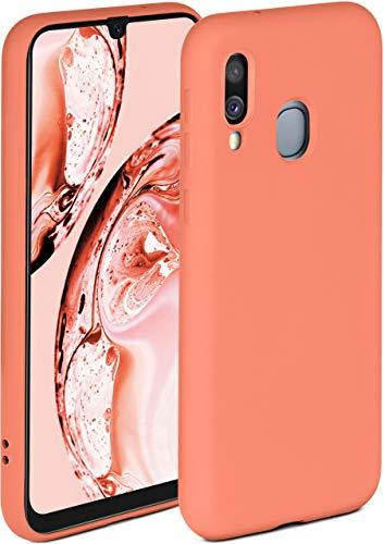 ONEFLOW Funda blanda compatible con Samsung Galaxy A40, de silicona, borde elevado para protección de pantalla, doble capa, suave, color coral mate