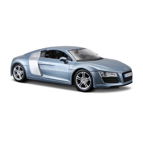 Maisto Audi R8: Originalgetreues Modellauto 1:24, Türen und Kofferraum zum Öffnen, Fertigmodell, 20 cm, blau (531281)