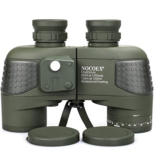 NOCOEX 10x50 Marine Binoculars for Adults, Military Binoculars Waterproof with Rangefinder Compass BAK4 Prism FMC Lens Fogproof for Navigation Boating Fishing Water Sports Hunting