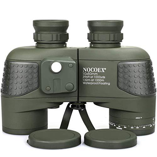NOCOEX 10X50 Prismáticos Marinos para Adultos Impermeable con Brújula Brújula BAK4 a Prueba de Niebla Prism Lens Binocular Militar para Navegación Navegación Observación de Aves y Caza