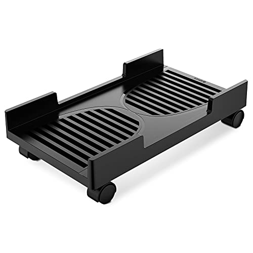 ORICO Computer Tower Stand, Mobile CPU Holder with 4 Caster Wheels Fits for Most Computer Tower, Gaming PC, Printer, Under Desk PC Holder (Black)
