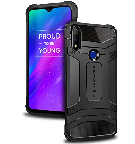 KAPAVER® Oppo Realme 3 Pro Rugged Back Cover Case MIL-STD 810G Officially Drop Tested Solid Black Shock Proof Slim Armor (Only for Realme 3 Pro)