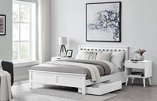 Furniturebox UK Azure White Wooden Solid Pine Quality Single Double King Bed Frame (Double Bed Only)