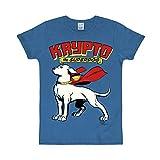 Logoshirt - DC Comics - Superman - El Súper Perro - Krypto - Camiseta Print - Azul - Diseño Original con Licencia, Talla XXL