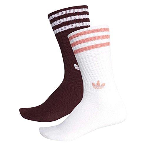 adidas Solid Calcetines, Unisex Adulto, Multicolor (Maroon/White/Tactile Rose), 31-34 EU