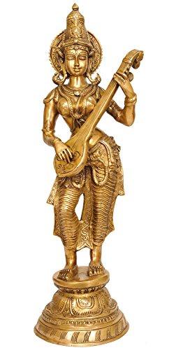Exotic India Devi Saraswati Vina Spielen–Messing Statue