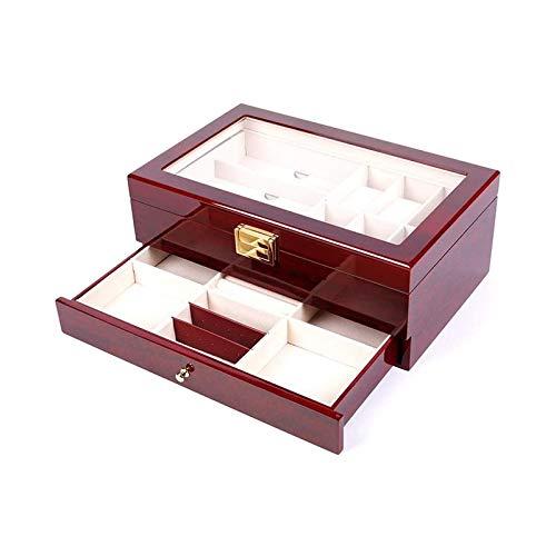 SSHA Joyero Caja de joyería Organizador de Almacenamiento Pantalla Cajón de Madera Reloj de Madera Caja de Valet Gafas de Sol Organizador de Joyas