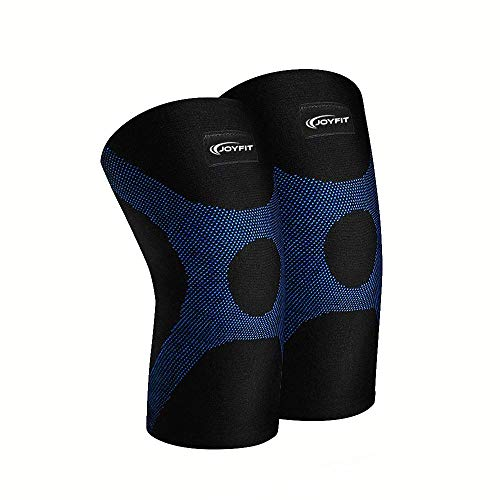 JoyFit - Knee Compression Sleeve Pair for Pain, Cycling, Running, Support, Sports, Basketball, Badminton, Jogging, Gym, Workout, Arthritis for Men and Women (Black/Blue) (Black,Blue, Medium)