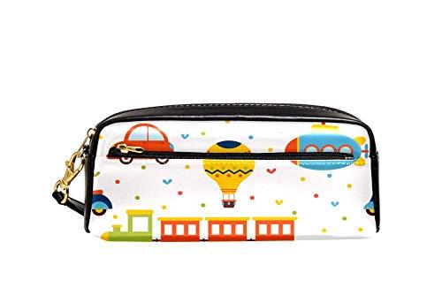TIZORAX tren avión coche y autobús juguetes lápiz caso pu cuero estudiantes estacionario pluma bolsa bolsa maquillaje cosmética bolsa