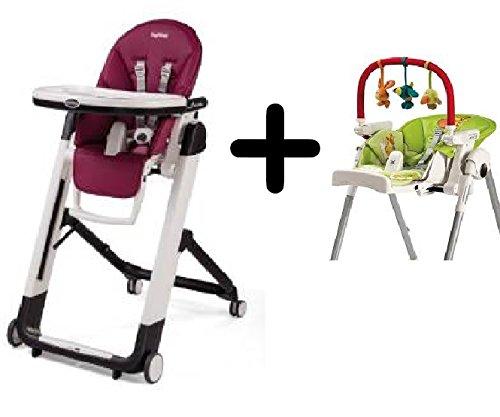 Peg Perego Siesta High Chair, Raspberry + Peg Perego High Chair Play Bar
