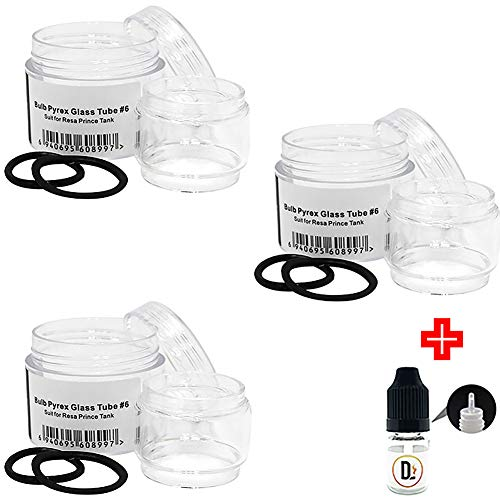 Preisvergleich Produktbild [100% ORIGINALPRODUKT] 3er Pack SMOK 7.5ml Ersatzglas fur Resa Prince + 1 FREI eliquid Leere Flasche 5ml DansLesVapes [OHNE NIKOTIN,  OHNE Tabak](SMK_GT6)