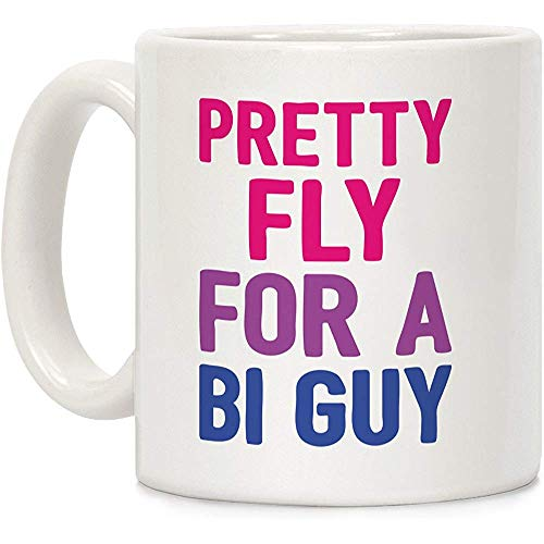 Taza de café de cerámica Pretty Fly For A Bi Guy White de 11 onzas