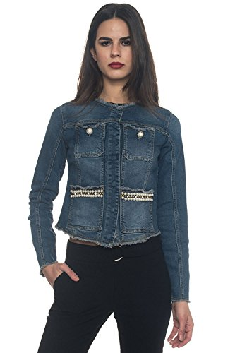 Guess Damen Marika Jeansjacke, Blu (Pearlized Washed), XS
