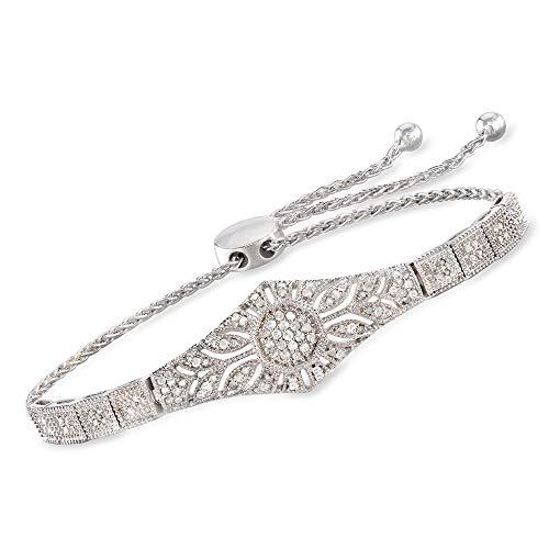 Ross-Simons 0.50 ct. t.w. Diamond Floral Openwork Bolo Bracelet in...