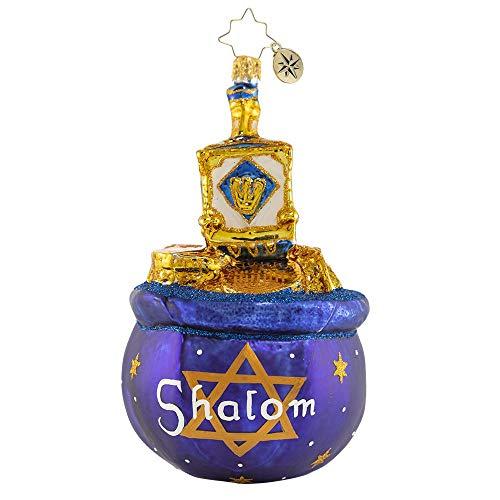 Christopher Radko Hand-Crafted European Glass Christmas Decorative Figural Ornament, Dreidel Jackpot