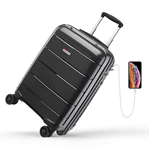 Reyleo - Maleta de cabina, maleta rígida, 4 x 2 ruedas, con puerto USB, cerradura TSA, maleta de 100% polipropileno, resistente, ultraligera, 32 L, color negro
