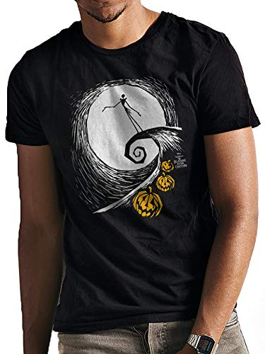The Nightmare Before Christmas Pesadilla Antes de Navidad - Camiseta el Lamento de Jack para Adultos Unisex (M) (Negro)