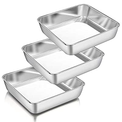 8 Inch Square Cake Pan Set of 3, P&P CHEF Stainless Steel Deep Baking Pans Lasagna Bread Brownie Pans, One-piece Molding & Leakproof, Non-toxic & Healthy, Easy Release & Dishwasher Safe by P&P CHEF