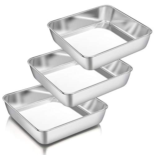 8 Inch Square Cake Pan Set of 3, P&P CHEF Stainless Steel Deep Baking Pans Lasagna Bread Brownie Pans, One-piece Molding & Leakproof, Non-toxic & Healthy, Easy Release & Dishwasher Safe