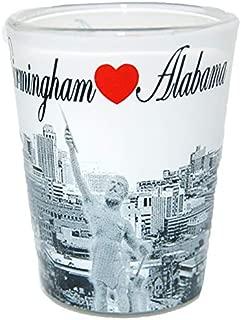 Birmingham Alabama Black and White Heart Skyline Shot Glass
